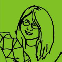 Sketch of C.K.Itamura with black lines on a lime green background