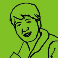 Sketch of Cheryl Ball with black lines on a lime green background