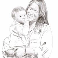 A sketched image of Julia Goodman, holding a child
