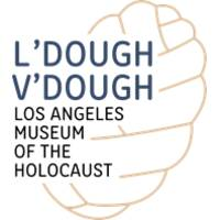 """L'Dough V'Dough"" in blue text and ""Los Angeles Museum of the Holocaust"" in black text below. A yellow graphic of a wing is in the background."