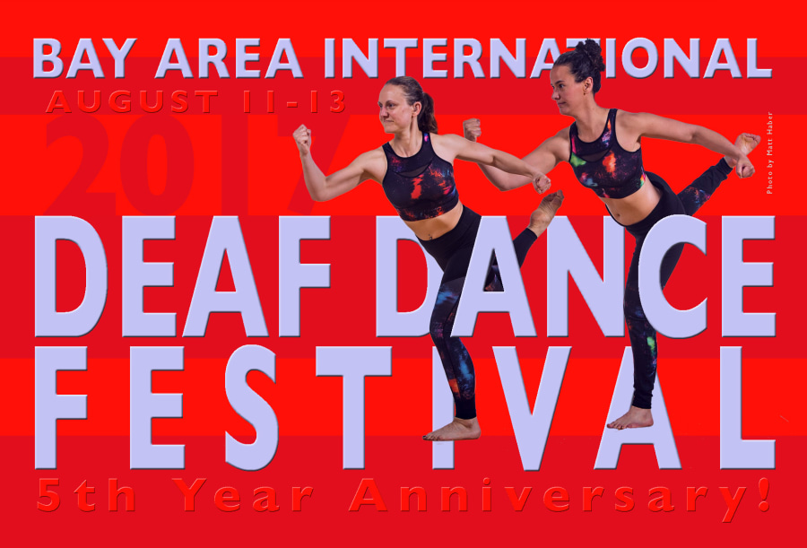 "Image of a red postcard featuring two light-skinned women dancers wearing tie-dye leggings and crop-top athletic wear. They are each standing on their left foot, arms in a powerful stance with the right fist clenched, and right leg stretched behind them. In the middle of the postcard appears the title ""Deaf Dance Festival 5th year anniversary"" in bold letters."