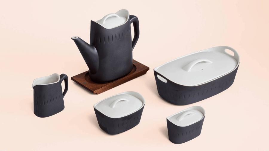 A set of modern-style pottery dishware