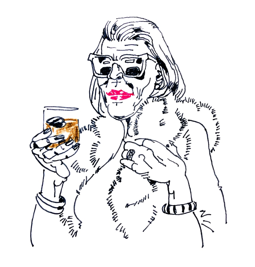 A cartoon drawing of a woman in sunglasses holding a cocktail