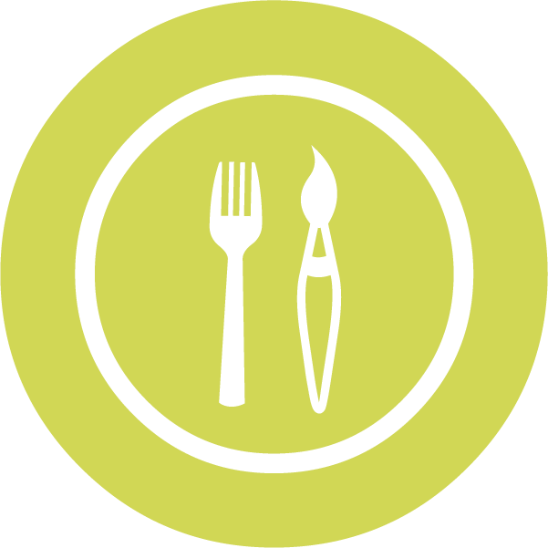 Icon of of a fork and a paintbrush on a plate on a green background