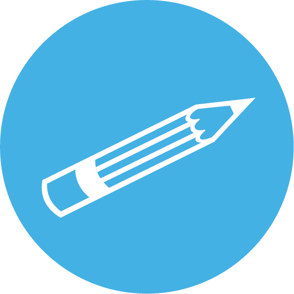 Icon of a pencil on a blue background