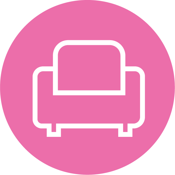 Icon of a couch on a pink background