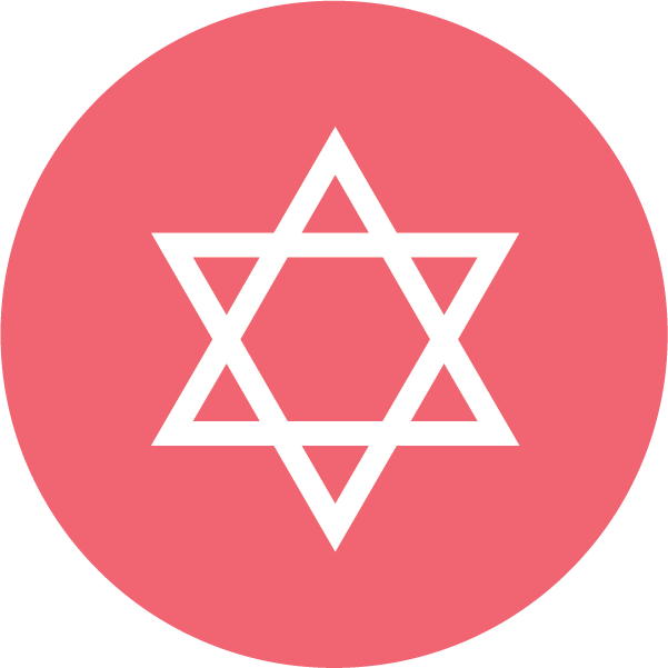 Icon of the Star of David on a red background