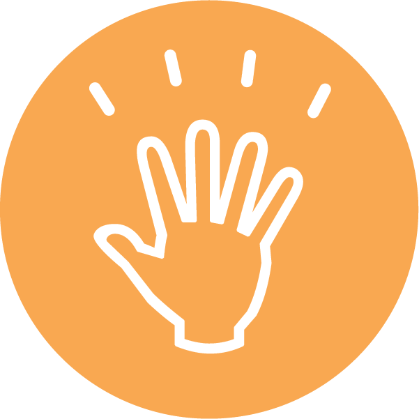 Icon of a hand with sparks coming from the fingertips on an orange background