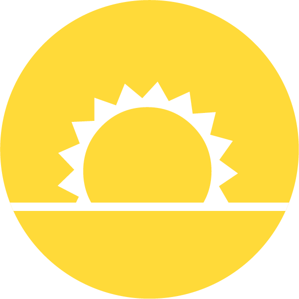 Icon of the sun on a yellow background