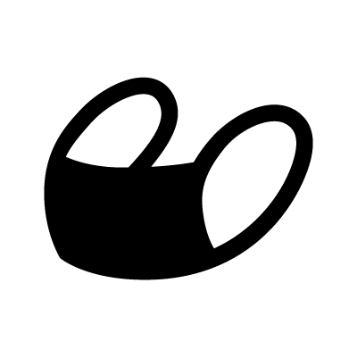 Black-and-white icon of a mask