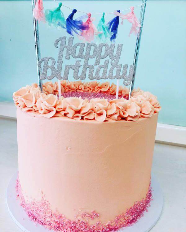 Simple Pink Happy Birthday Cake