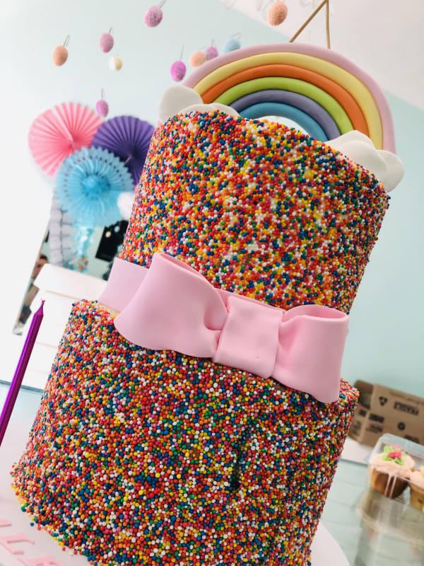 Rainbow sprinkle Tower Cake