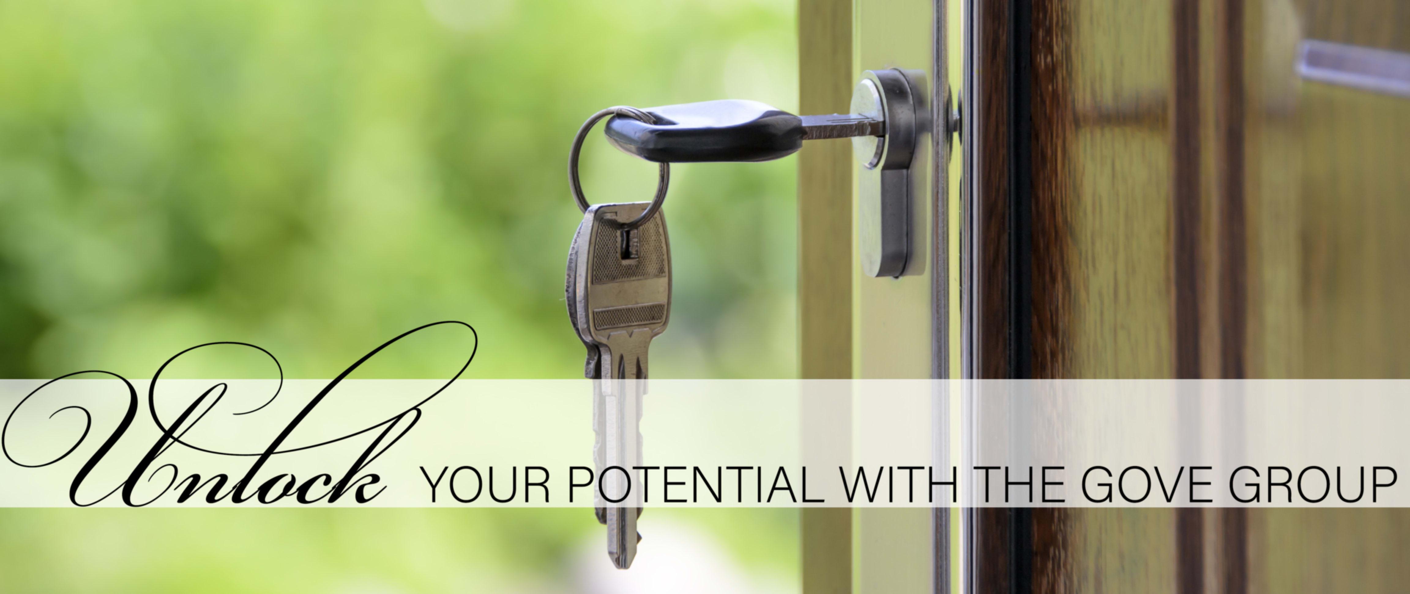 Key in door banner reads unlock your potential