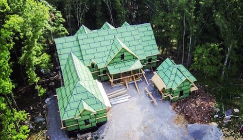 Aerial view of construction on the groves southern living showcase home