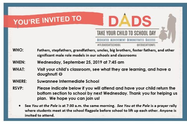 Dads Take Your Child to School Day 09/25/19