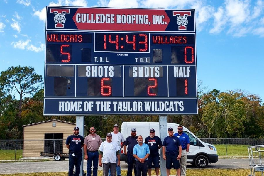 New Scoreboard sponsored by Gulledge Roofing, Inc.