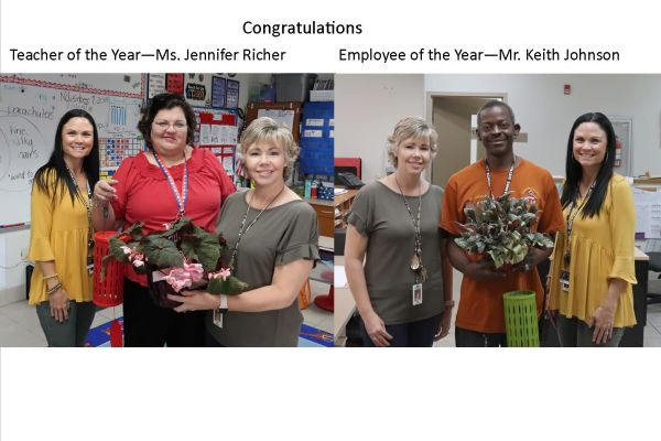 Teacher of the Year - Ms. Jennifer Richer/ Employee of the Year - Mr. Keith Johnson