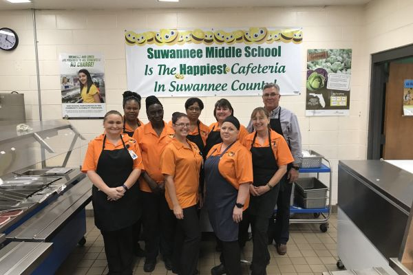 School Board Member Helps Serve Lunch to SMS Students