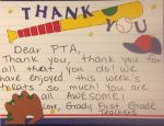 A thank you note from the First Grade Teachers