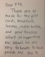 A thank you note from Ms. Apockotos