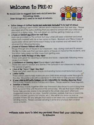 Pre-K Classroom Supply List