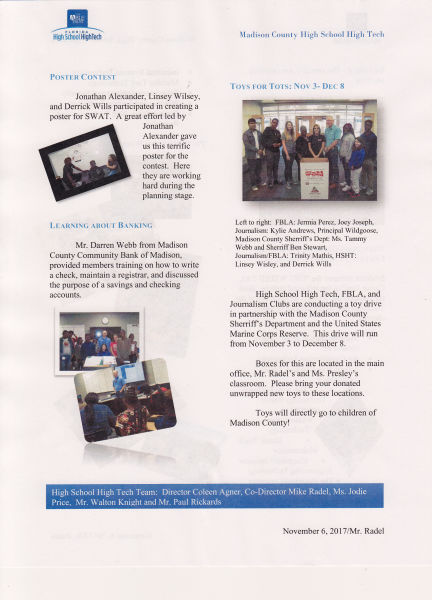 High School High Tech Newsletter Page 2 - News - Madison County High