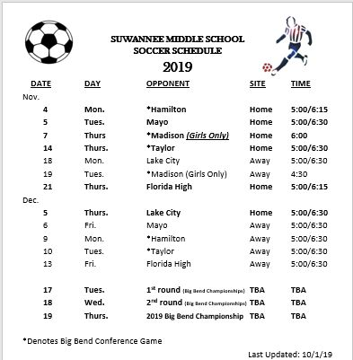 updated soccer schedule
