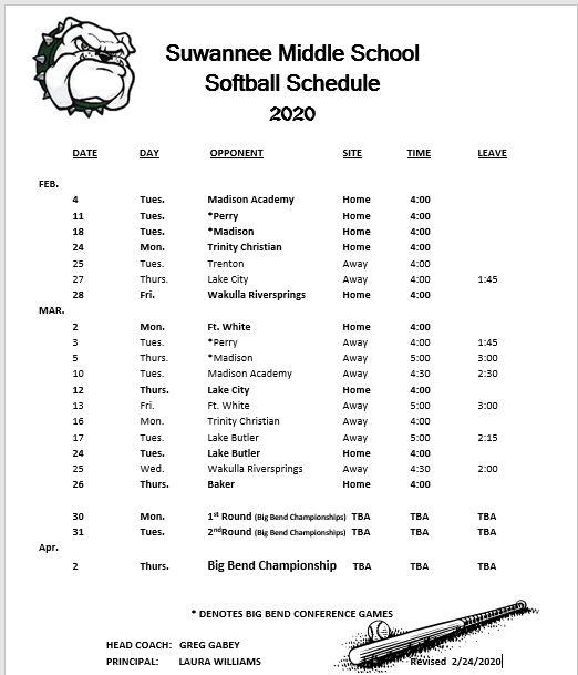 Softball Schedule 2020