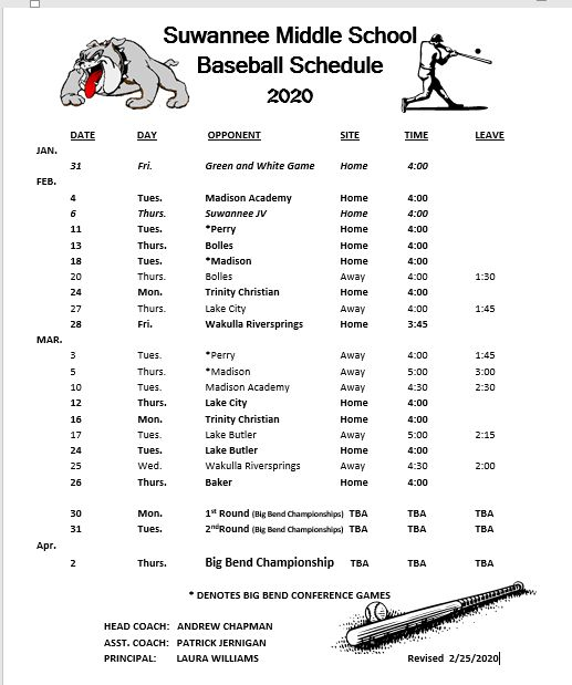Baseball Schedule 2020