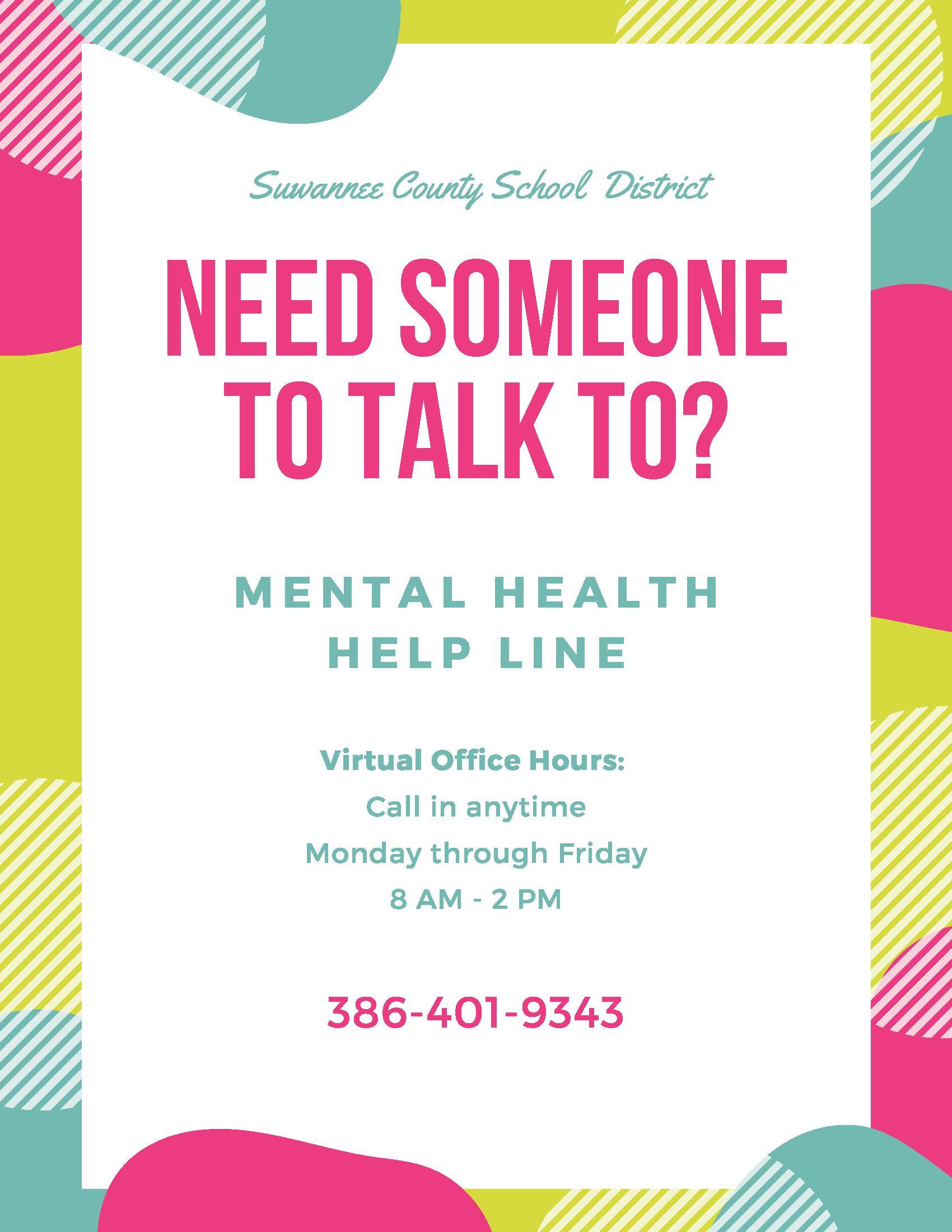 SCSD Mental Health Help Line