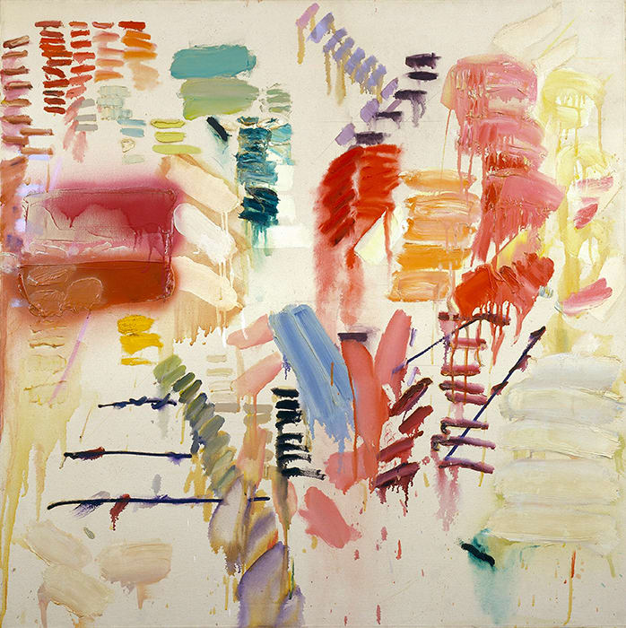 The image is Joan Snyder's painting Hard Sweetness, a square painting filled with multi-colored abstract brush strokes of different sizes in all different directions on an off-white canvas.