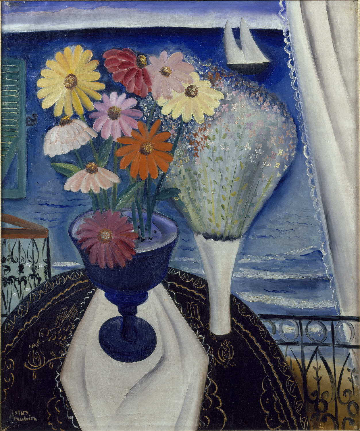 Two delicately painted vases of flowers sit on a table. Behind the flowers, a seascape with a sailboat in the distance.