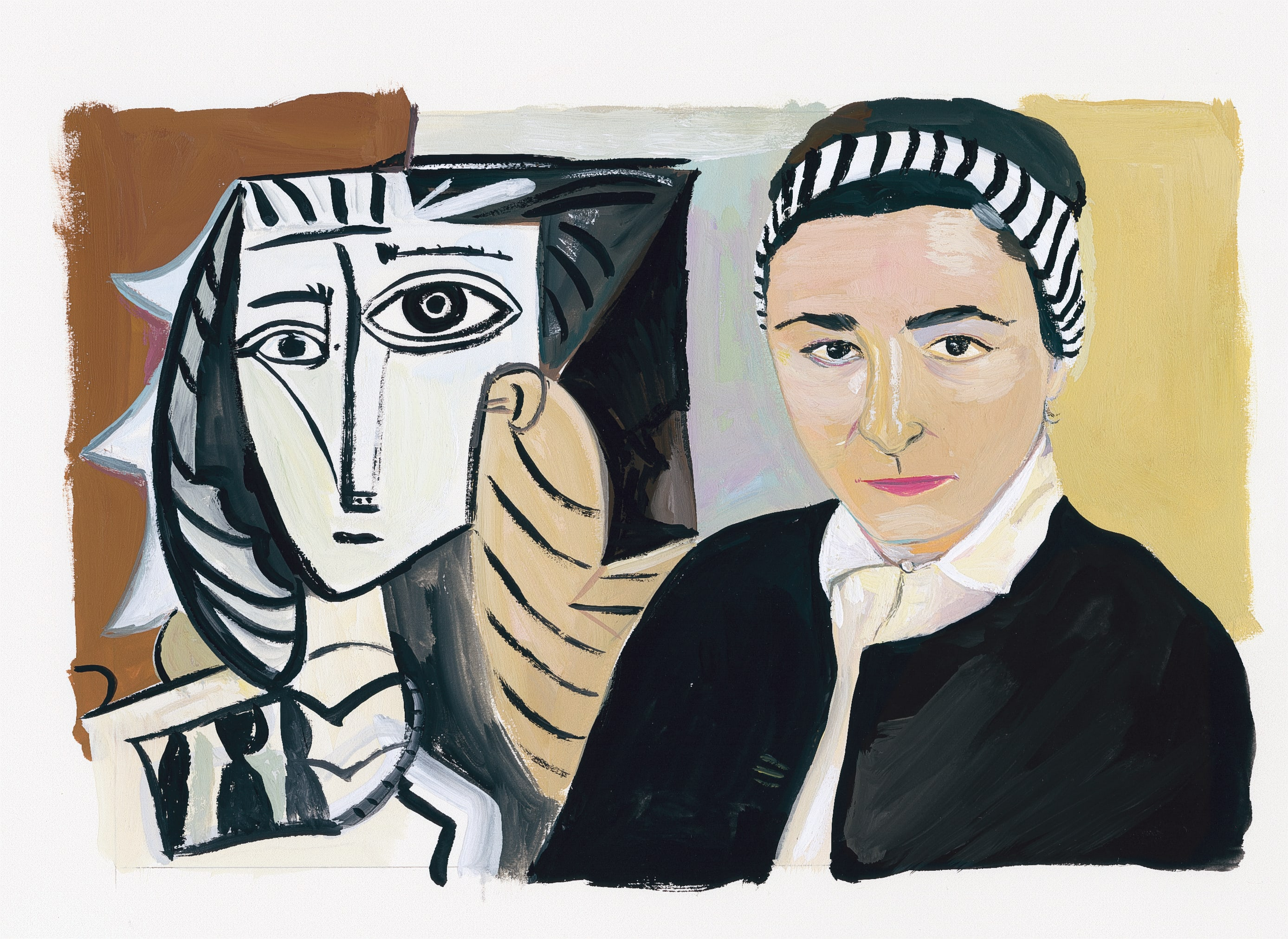 Horizontal painting in creams, black, greys, and brown. On the right a woman in a striped headband and black sweater looks directly our at the viewer. On the left behind her, an abstracted, geometric, cubist-style face in black and white.