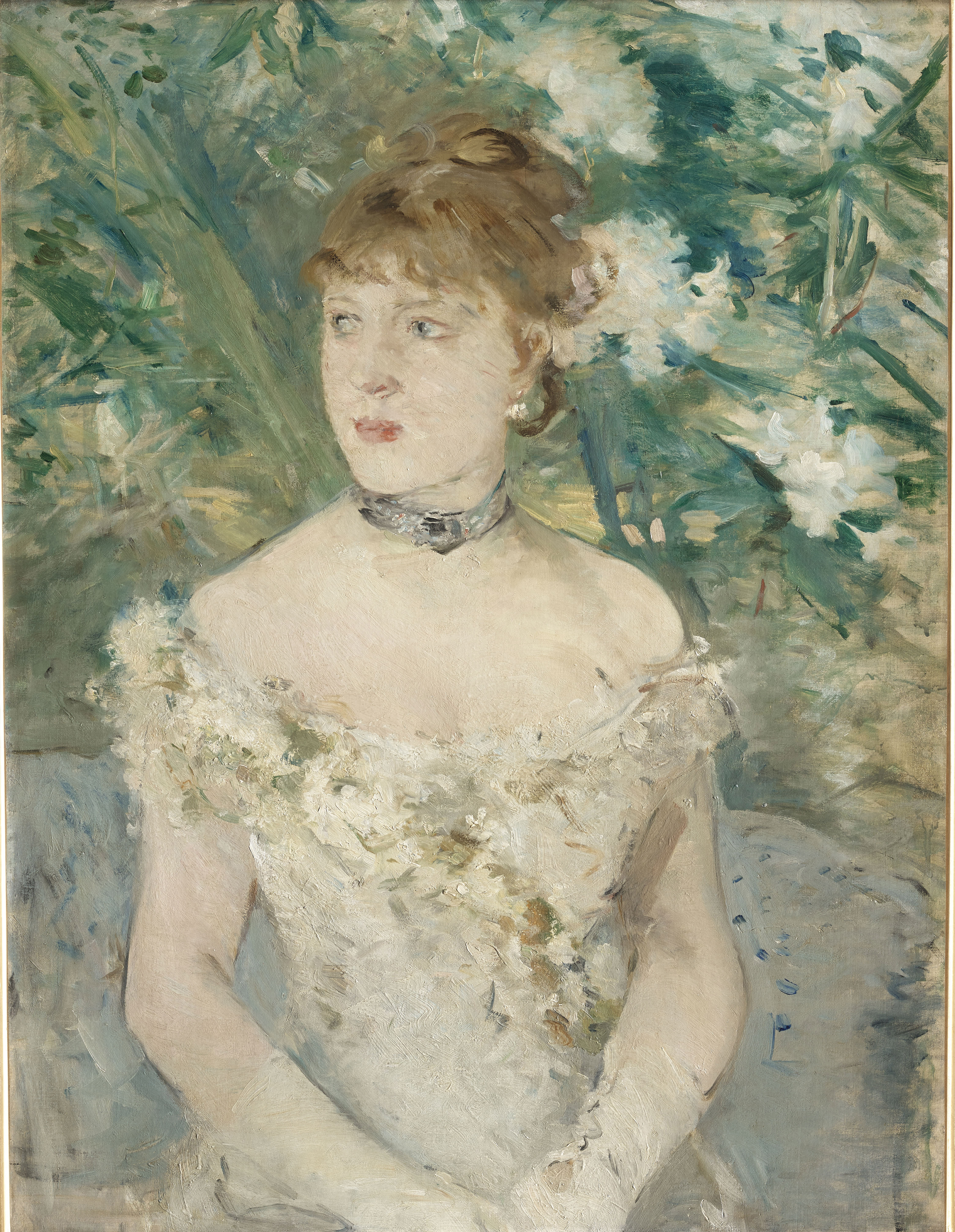 Vertical portrait of a young light-skinned woman, made with impressionistic visible brushstrokes. She is visible from the torso up. She wears a white, off the shoulders gown, a choker, and her hair is up. The background give the impression of a wall of fl