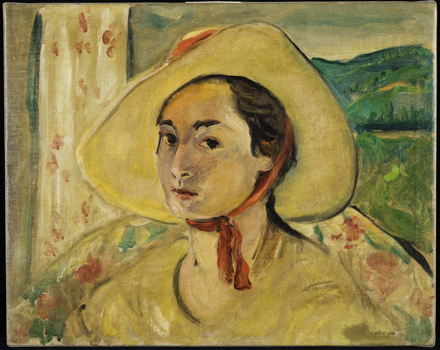 Portrait of a light skinned woman in 3/4 view. She wears a yellow top and a yellow hat with a wide brim and a red ribbon tied under her chin. Behind her is a window with green rolling hills.