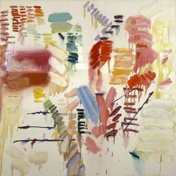Joan Snyder's Hard Sweetness is a square painting filled with multi-colored abstract brush strokes of different sizes in all different directions on an off-white canvas.