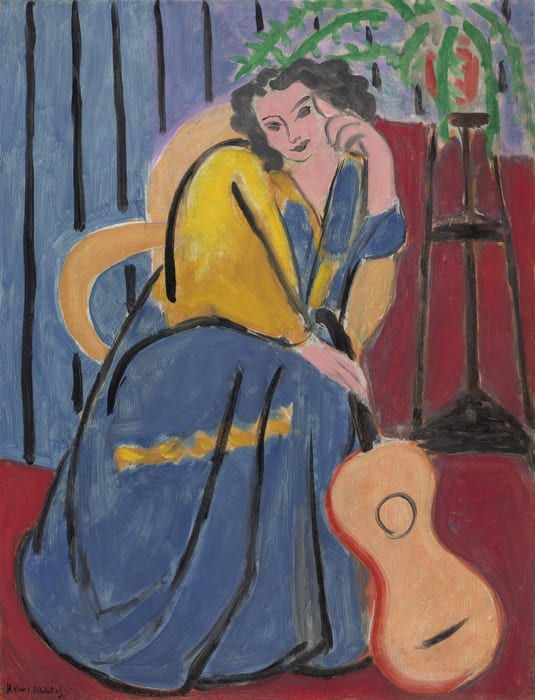 Colorful vertical painting of a light skinned woman sitting, head resting on her hand. She wears a blue and yellow dress of brushy paint strokes. She holds a guitar resting along the length on her leg. There is a red floor and blue walls, and a plant on a