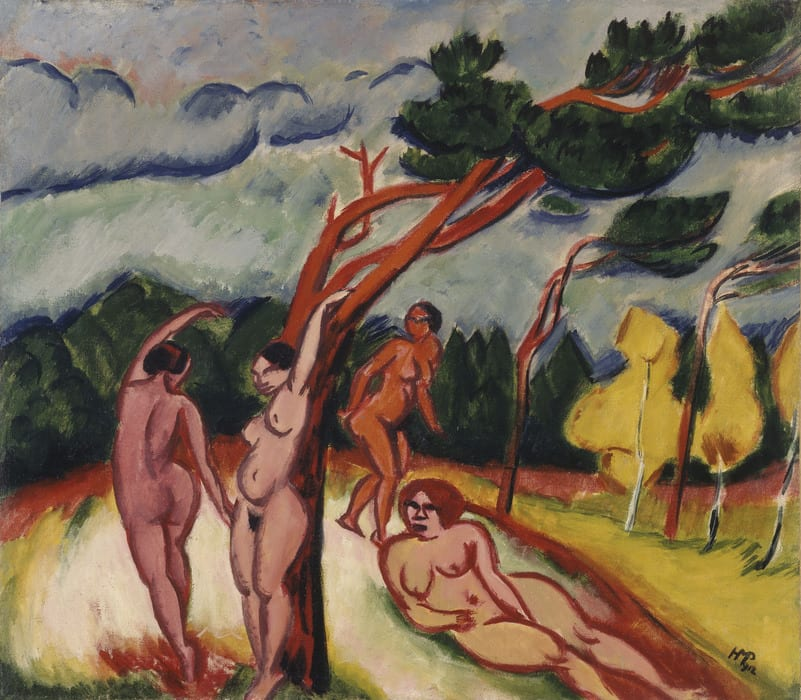 Colorful horizontal painting of four nude figures in a landscape. Two pose arm over head, one walks and one lays on their side. Red green and yellow trees bend in the wind.