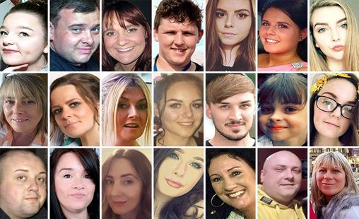 The image displayed here shows the faces of the 22 people who were killed in the Manchester Bombing. It is displayed in a 3 by 7 grid.