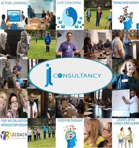 The image depicts several photographs taken from various workshops and events run by JL Consultancy. It has the JL Consultancy Logo in the middle.