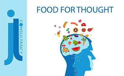 Food for thought. This image contains a picture of a human head with different foods flowing out of the brain area.