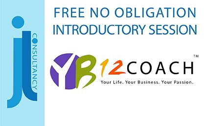 FREE no obligation introductory session. This image contains the YB12 Coaching Logo.