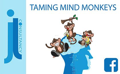 Tame those mind monkeys. This image contains a picture of a human head with monkeys jumping out from the brain area.