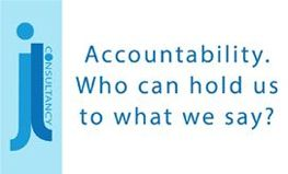 Image states the words accountability. Who can hold us to what we say?