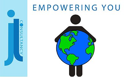 Empowering You. This image shows a faceless, genderless and colourless person holding a green and blue globe.