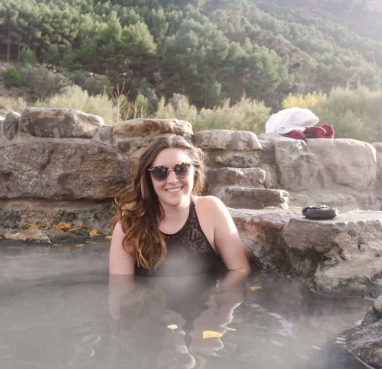 Kate in a hot spring
