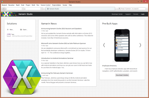 Xamarin Studio start screen (Windows version)