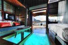 Overwater bungalows at Le Meridien Bora Bora