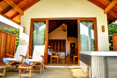 Deluxe Jacuzzi Beach Villa at Reethi Faru Resort, Raa Atoll, Maldives