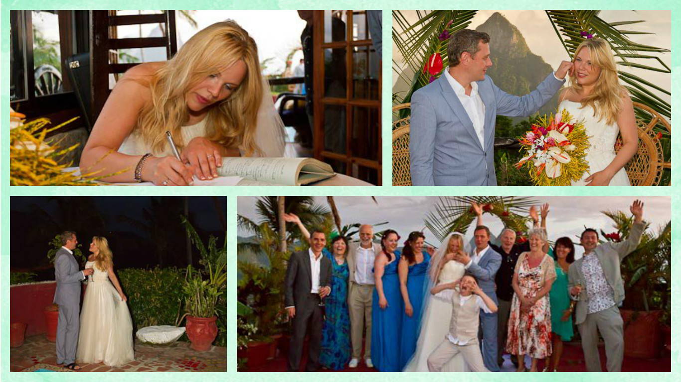 The Romantic Tourist's founders and directors, Chloe and Jason, getting married at Crystals boutique hotel in St. Lucia with friends and family